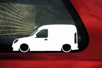 2x LOW Renault Kangoo Van Mk1 (facelift) outline silhouette stickers /Decals